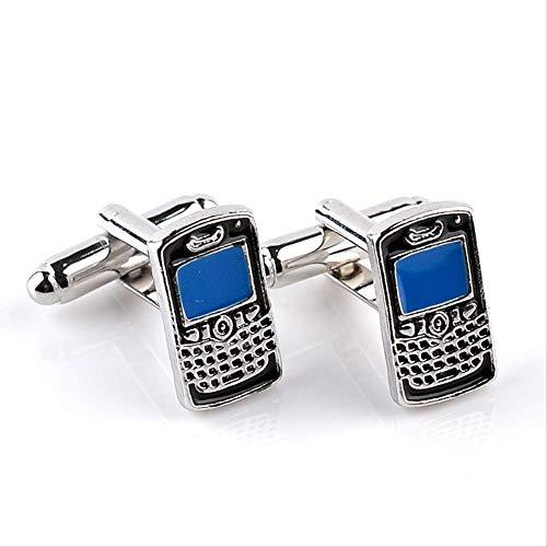 XKSWZD Un par de Modelos de Moda Gemelos de teléfono móvil Encanto Hombres Esmalte Accesorios de Metal Camisa Creativa Manguito joyería de Boda Mujeres Regalo