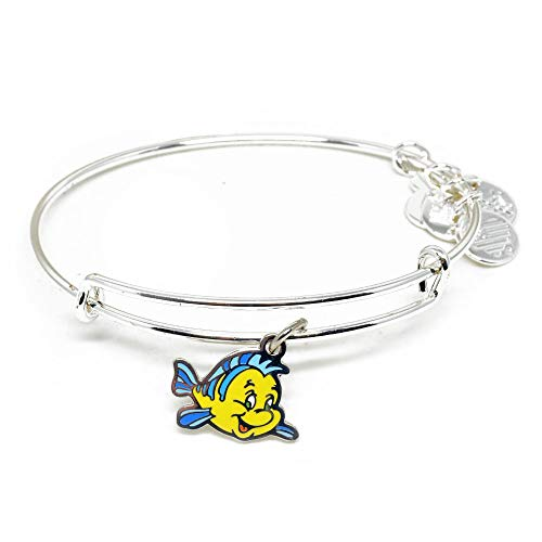 Alex and ANI Disney Parks Under The Sea Flounder Fish Bangle - Best Friend of Ariel The Little Mermaid - Charm Bracelet Jewelry Gift (Silver Finish)