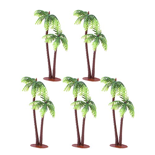 Tinksky 5Pcs Plastic Coconut Palm Tree Miniature Plant Pots Bonsai Craft Mini Scenery Landscape DIY Doll House Resin Decoration