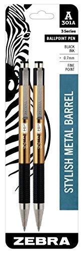 Zebra 301A Ballpoint Aluminum Retractable Pen, Fine Point, 0.7mm, Gold Barrel, Black Ink, 2-Count
