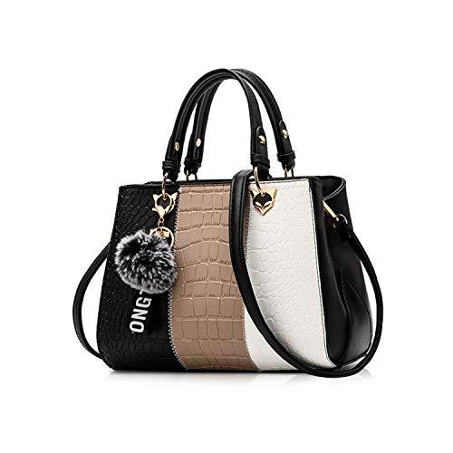 NICOLE & DORIS Damen Handtasche Umhängetasche Henkeltasche Kuriertasche Elegant Damen Handtaschen mit Kaninchen Pelz Kugel Plüsch Schlüsselring Schwarz 1