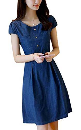HX fashion Dames Zomerhemdjurk Spijkerjurk Ronde Hals Korte Mouwen Slanke Tuniek Comfortabele maten A Lijn Spijkerjurk Avondjurk Feestjurk (Color : Blau, One Size : L)