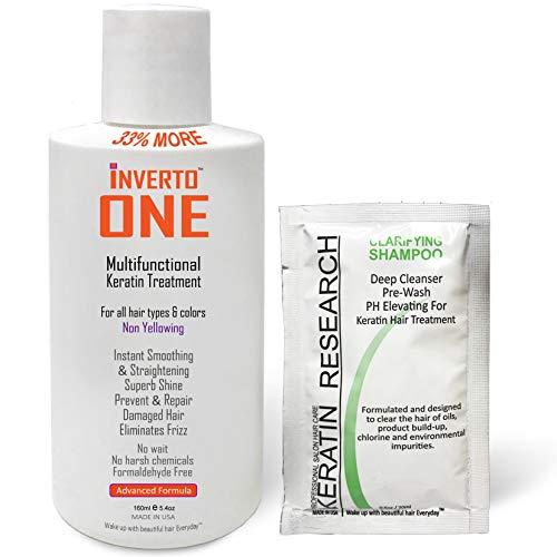 INVERTO ONE Formaldehyde-Free Keratin Hair Treatment Keratina Brasilera Tratamiento INVERTO ONE Complex Brazilian Keratin Hair Blowout Treatment Professional Instant Results Straighten (160ml+CS)