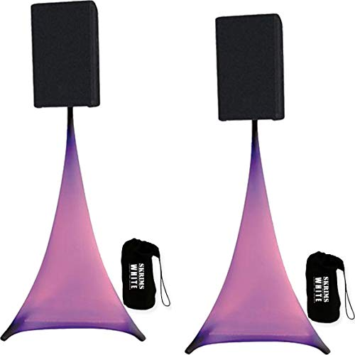 2-Pack Amazin Gear SKRIMS Tripod Speaker Stand Stretch Covers - Triple Sided DJ Scrims - Spandex DJ Skirts +2 FREE Travel Bags - 3-Sides Perfect for Glow Lighting Effect - WHITE PAIR (SKRIMS-3W-2)