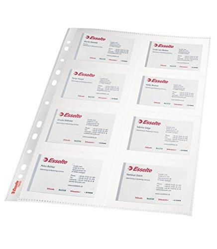 ESSELTE 78930 - Fundas PP Cristal para tarjetas de visita con refuerzo 105 micras (bolsa 10 ud.) DIN A4. 11 taladros