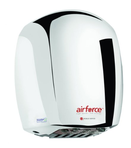 Secadora de manos de aluminio World Dryer Airforce, metal, Acero inoxidable (Polished Stainless)