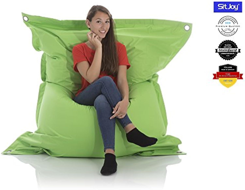 Sitjoy Fashion Sitzsack  140x200 cm  Outdoor & Indoor  390 Liter Füllung (Grün mit Ringen  EPS Styropor-Micro-Perlen schadstoffgeprüft)