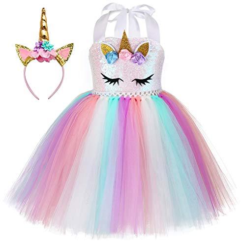 UrbanDesign Mädchen Prinzessin Kleid Verkleidung Kleid Partei Kostüm Einhorn (9-10 Jahre, Mehrfarbig)