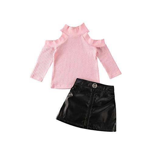 Baby Kleinkind Mädchen Outfits Langarm Knit Off Shoulder Crop Tops + Kurzer Lederrock Frühling Herbst Kleidung Set Gr. 3-4 Jahre, rose