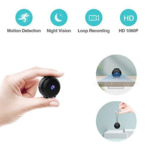 Mini Kamera,Kean Full HD 1080P Mini Überwachungskamera, Mini Cam mit Bewegungsmelder und Infrarot Nachtsicht, Compact Akku Kameras Nanny Cam für Innen und Aussen