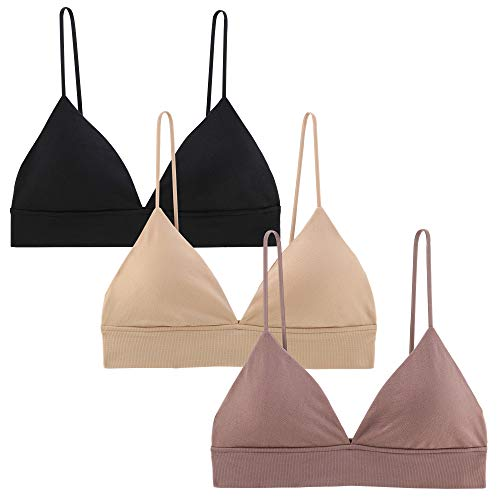 INIBUD Bralette for Women Triangle Cups Removable Padded Wire Free Pull On Closure (3 Pack Black&Brown Sugar& Wheat, M)