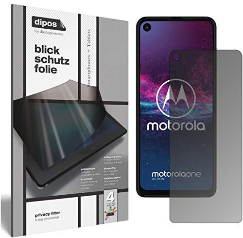 dipos I Blickschutzfolie matt kompatibel mit Motorola One Action Sichtschutz-Folie Bildschirm-Schutzfolie Privacy-Filter (bewusst Kleiner als das Glas, da Dieses gewölbt ist)