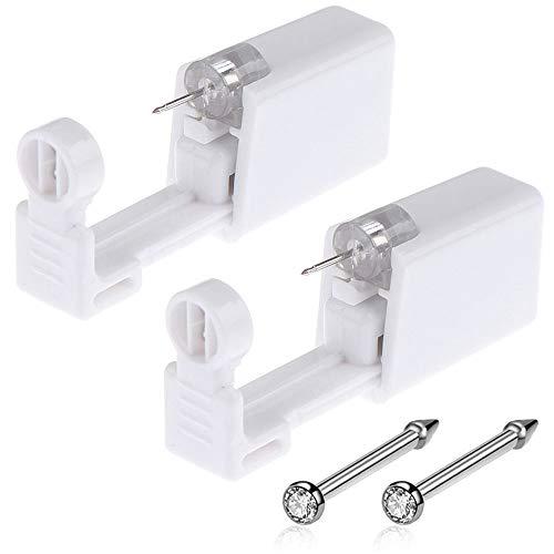 Nose Piercing Gun - Beautylu 2 Pack Self Nose Piercing Kit Unit Safety Disposable Nose Piercing Gun with Nose Stud Piercing Kit Tool for Cartilage Helix Piercing Gun Piercing Jewelry (Silver-N)