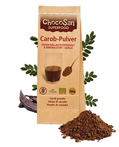 Carobpulver BIO, Johannisbrot gemahlen, fettarmer Kakao-Ersatz, kalorienarme Alternative zu Schokolade, 31% (!) Ballaststoffe, vegan, schonend getrocknet, plastikfrei abgepackt (Carob, 200g)