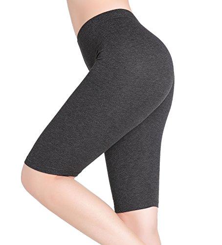 CnlanRow Womens Under Skirt Pants Soft Ultra Stretch Knee Length Leggings Fitness Sport Shorts,Small,Dark Gray