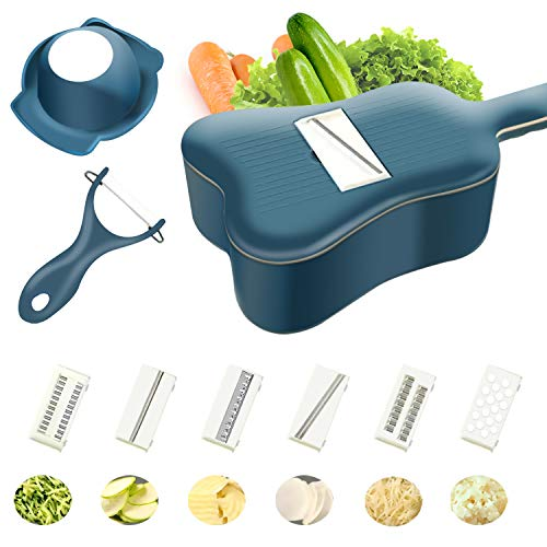 UKULELE Vegetable Chopper, 11 in 1 Mandoline Slicer Cutter Chopper and Grater for Vegetables and Fruits Zester Grater with Handle and Container 6 Blades and Peeler in Package(Blue)