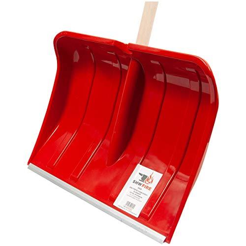 SHW-FIRE 59026 Schneeschieber Schneeschaufel Kunststoff 50 cm breit mit rundem Stiel Holz 130 cm lang