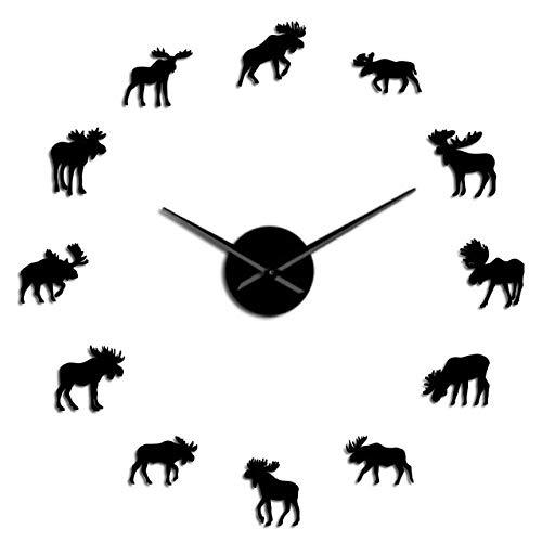 Wrist Watch Wall Clock Moose DIY Giant Wall Clock Moose Silhouette Decorative Frameless Wall Watch Modern Nature Animal Wall Art Hunting Clock,Black,3