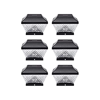 NOMA Solar Post Lights | Waterproof Outdoor Cap Lights for 4 x 4 Wooden Posts, Deck, Patio Garden Décor or Fence | Warm White LED Lights, 6-Pack