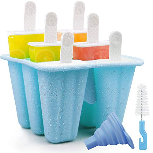 Nialnant Popsicle Molds 6 Pieces Silicone Ice Pop Mold BPA Free Reusable Easy Release Ice Cream Maker for Kids, Popsicles Mould With Silicone Funnel and Cleaning Brush (Blue)