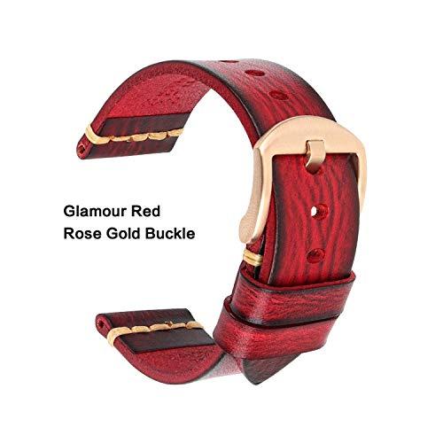 Lederen riem voor Rolex_Watch Man Horlogeband Galaxy Horloge Band 18 Mm 20 Mm 22 Mm 24 Mm Horloge Band Polsarmbanden Roes Goud Gesp, 22mm, Glamour Red-Roes
