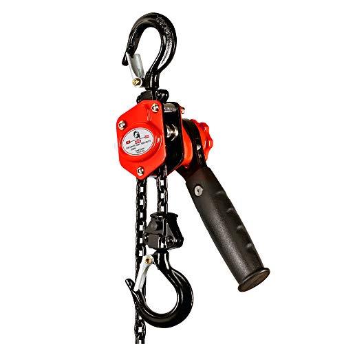 G Kettenzug Handkettenzug Flaschenzug Seilwinde Seilzug Kettenzug Hebezug Ratschenzug 250kg Tragfähigkeit 1.5m Hubhöhe Schwerlasthaken aus Handelsüblichem Stahl