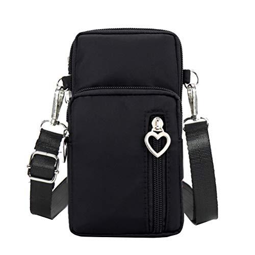 FENICAL Mode pour Femmes Sports Mini Sac carré Oxford Sac Messenger en Tissu Sacoche pour téléphone Portable Sacs à bandoulière (Noir)