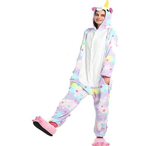 Flanin Cartoon Jumpsuit Startseite XL Sterntag Pferd WinterFamilie siamesische Pyjamas Soft Velvet Christmas Animal Pyjamas Weihnachten Cosplay Adult