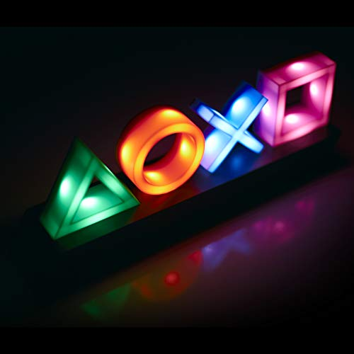 Paladone PP4140PS Playstation Icons Retro Gaming Lamp Phasing & Reacts to Music   Ideal for Office, Work Or Home   Mood & Night Light, Multi Colour