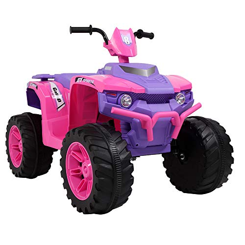 VALUE BOX Kids ATV 4 Wheeler Ride On Quad 12V Battery Powered Electric ATV Realistic Toy Car w/ 2 Speeds, Easy Button, Music, LED Lights and Horns (Pink & Purple)