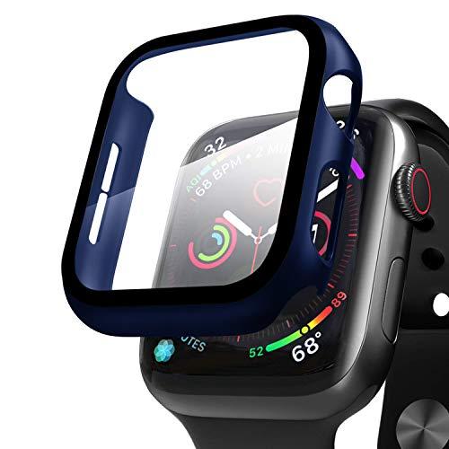 Compatible con Apple Watch 38mm Serie 3/Serie 2/Serie 1 Funda + Cristal Templado, Qianyou PC Case y Vidrio Protector de Pantalla Integrados, Slim Cover de Bumper y Protector Pantalla (Azul)