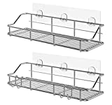 KESOL Adhesive Shower Caddy Shower Shelf Basket with Hooks, 304 Stainless Steel, 2 Pack
