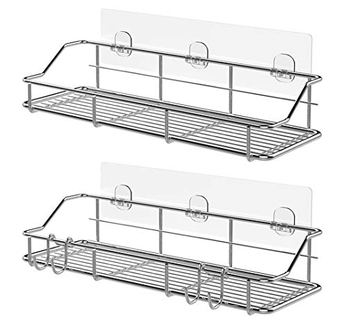 Adhesive Shower Caddy Shower Shelf Basket with Hooks, 304 Stainless Steel, 2 Pack (Silver)