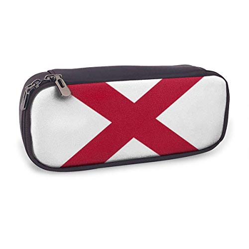 Pencil Case Pen Bag,Alabama State Flag,Large Capacity Pen Case Pencil Bag Stationery Pouch Pencil Holder Pouch with Big Compartments