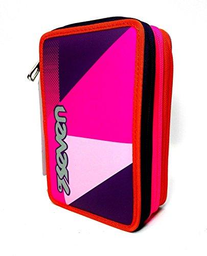 Trousse 3 zip Seven l'école SJ psichedelic Girl Rose stylos école New 20
