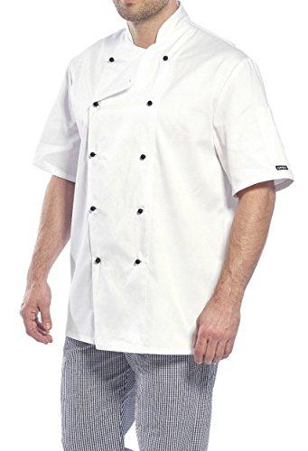 Portwest Kent, Kochjacke Kurzarm, Kochbekleidung, Gastronomie, Bäcker, weiß/schwarz, (XXL, Weiß)