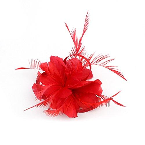 Tocados De Pinza Para El Pelo Cabeza De Mujer Novia Para Fiesta Boda Moderno Con Pluma (Rojo)