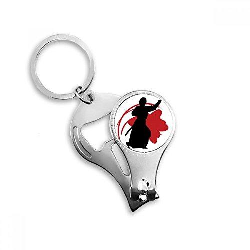 DIYthinker Japan Azië Samurai Katana Sakura Parry Silhouette Sleutelhanger Ring Teen Nagel Clipper Cutter Schaar Tool Kit Flesopener Gift