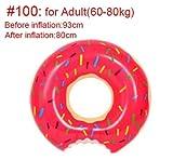 Donut Inflable Natación Anillo for Flotador de la Piscina Colchón Piscina Espesado PVC Anillo Flotante de Verano Juguetes de Asiento (Color : 60 80kg Adult)