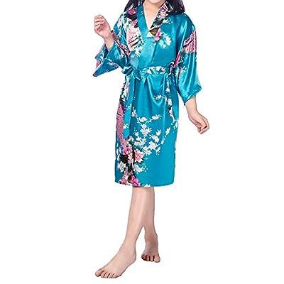 UTOVME Kid Girl's Satin Kimono Bathrobes Peacock Bloom Sleepwear for Spa Party Wedding Birthday