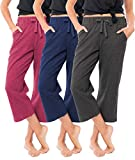 Sexy Basics Women's 3 Pack Soft French Terry Fleece Casual/Active Comfy Capri...