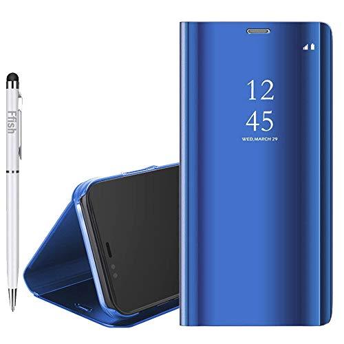 Capa espelhada de luxo Ffish para Sony Xperia XZ3, [Tecnologia de revestimento de metal] [Janela de visualização translúcida] Capa protetora magnética ultrafina e leve para Sony Xperia XZ3 - Azul