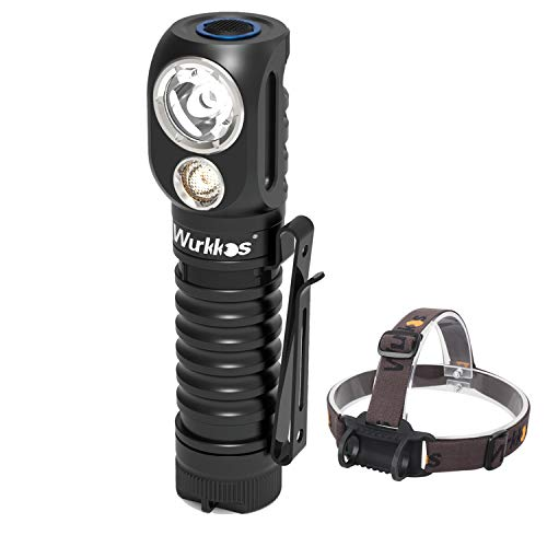 Wurkkos HD20 USB-C LED Flashlight Rechargeable Headlamp Dual LEDs Angle light Spotlight and Floodlight Super Bright Max 2000LM with Magnetic Tail Cap, Reverse Clip, 21700 battery included