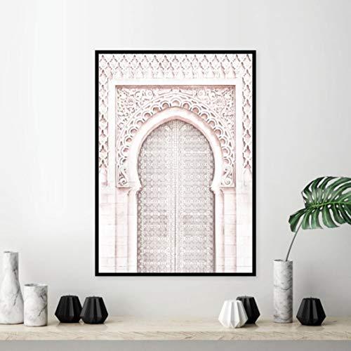 Danjiao Rosa Marokkanischen Arch Travel Wall Art Leinwand Gemälde Poster Alten Tor Marokko Tür Kunstwerk Bilder Drucke Home Wall Art Decor Wohnzimmer 60x90cm