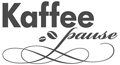 dekodino® Wandtattoo Spruch Küche lustig Kaffeepause mit Kaffeebohnen