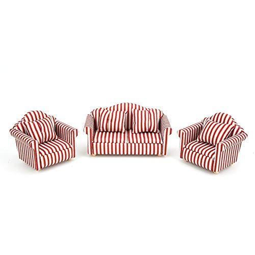 Sofá en miniatura de muebles de casa de muñecas a escala 1:12 Juego de 3 piezas y cojines Decoración de sala de estar para casa de muñecas, accesorio de juguete para niños en miniatura, regalo creativ