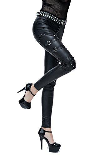 Gothic Ladies Fashion negro PU pantalones largos de cuero con remache Steampunk mujeres Sexy Casual Punk Stretch pantalones (XS) (Ropa)