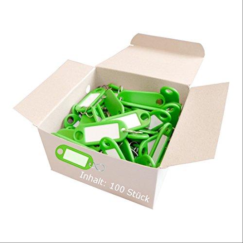 Wedo 262803404 Schlüsselanhänger Kunststoff (mit S-Haken, auswechselbare Etiketten) 100 Stück, grün