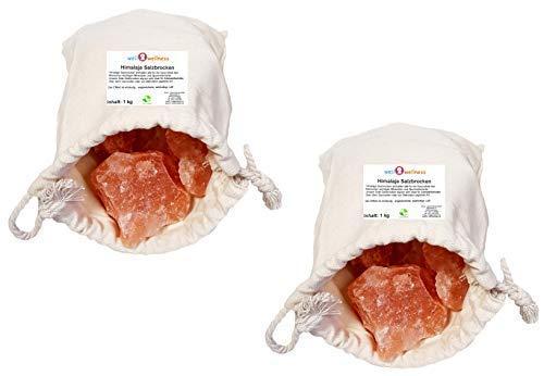 SudoreWell® Solebrocken rosa Steinsalz aus dem Vorgebirge des Himalaya - 2 x 1,0 kg Baumwoll-Beutel