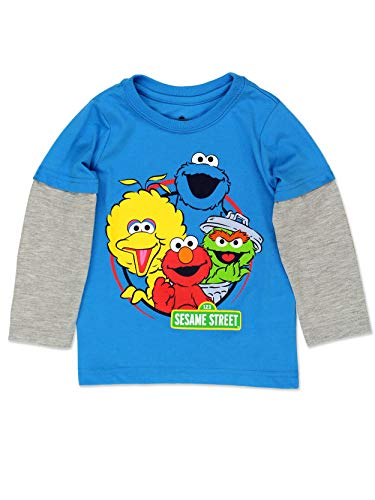 Sesame Street Gang Elmo Baby Toddler Boys Long Sleeve Tee (24 Months, Sesame Street Blue)
